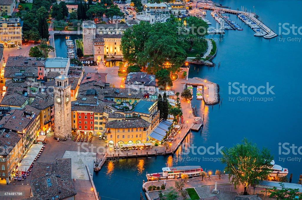 Lake Garda, Town of Riva del Garda, Italy (blue hour) stock photo