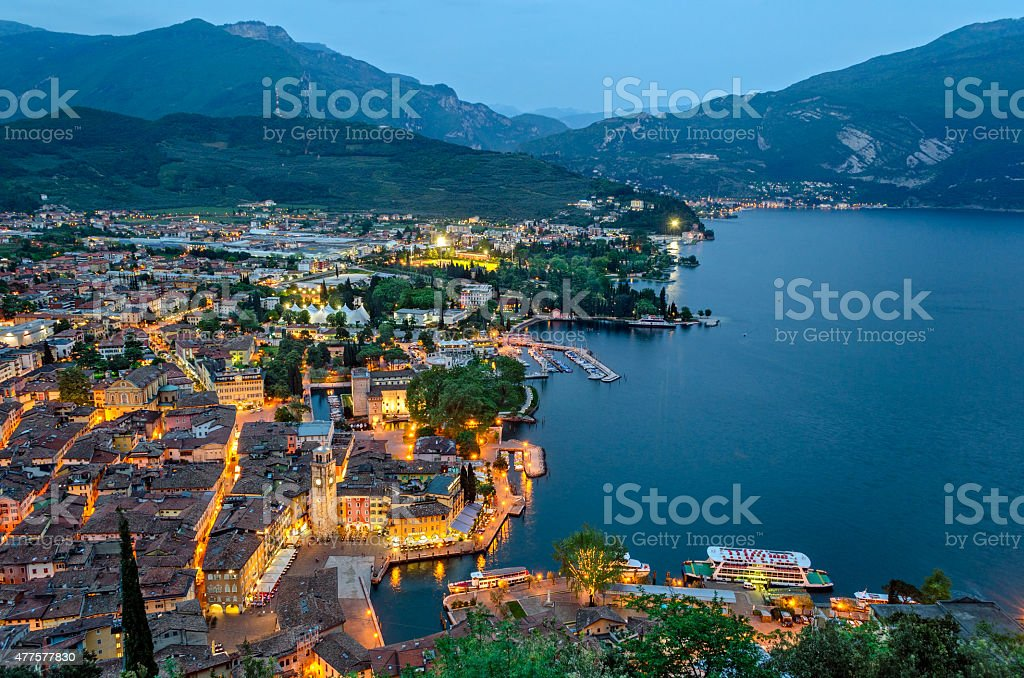 Lake Garda, Town of Riva del Garda, Italy (blue hour) stock photo