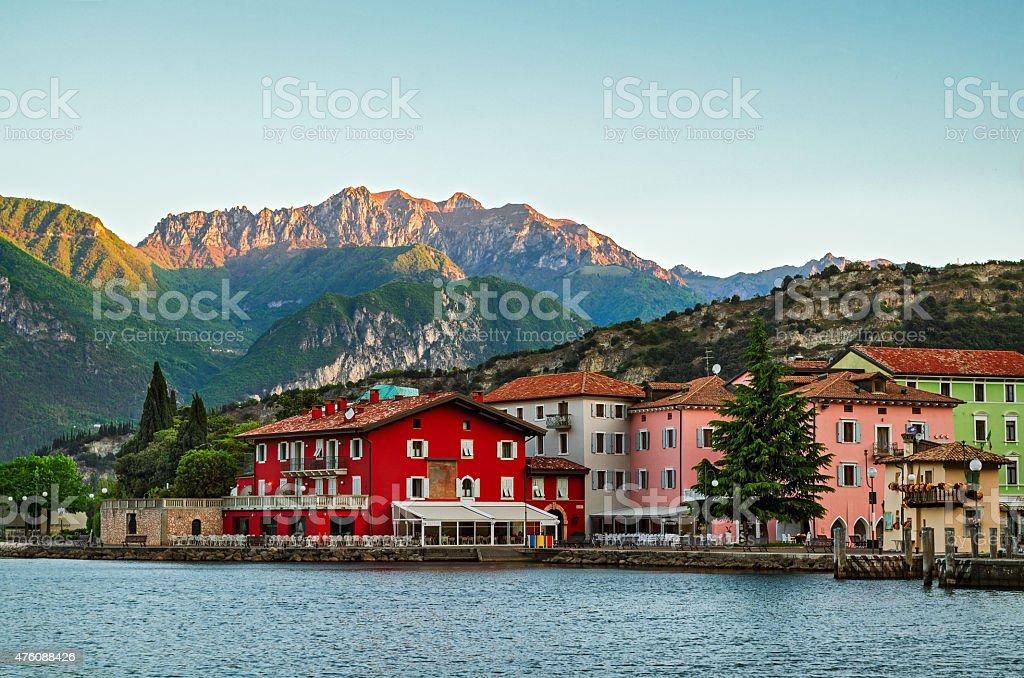 Lake Garda, Town of Torbole (Trentino, Italy) at early morning stock photo