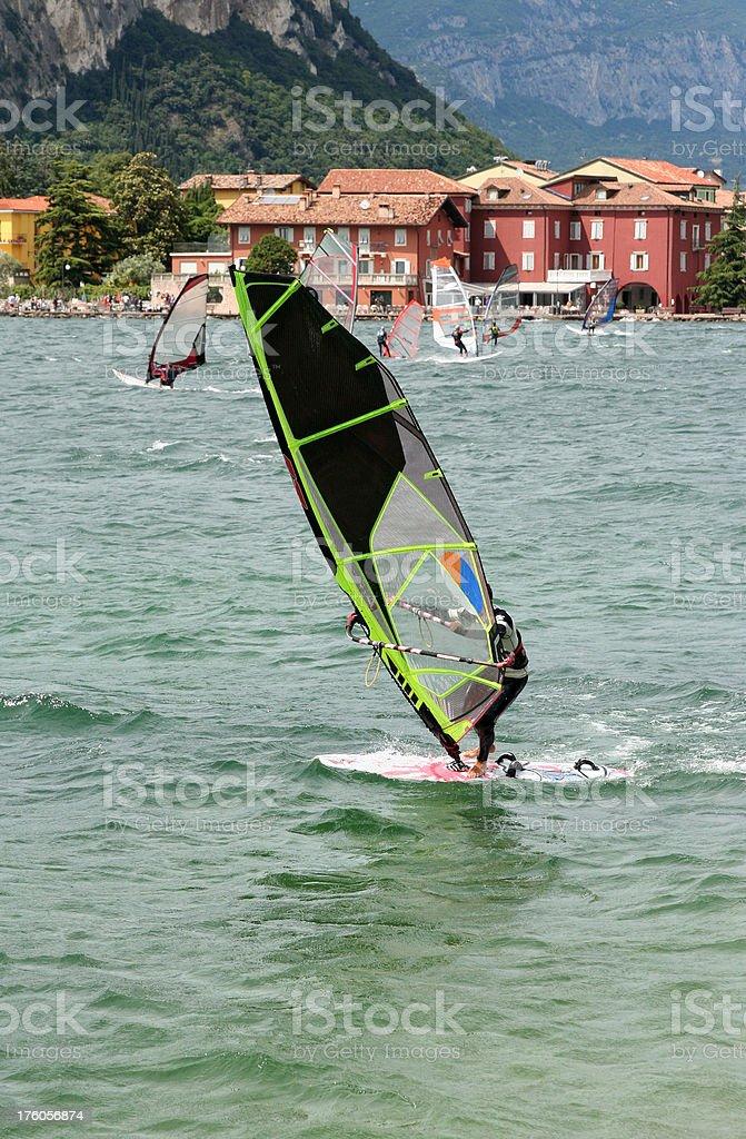 Lake Garda Windsurfing stock photo