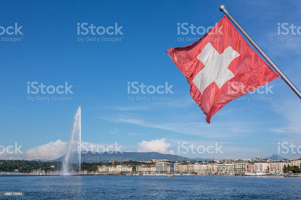 Lake Geneva and Jet d'Eau Water Fountain, Switzerland stock photo