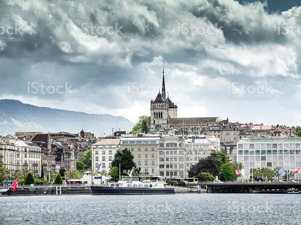 Lake Geneva Embankment stock photo