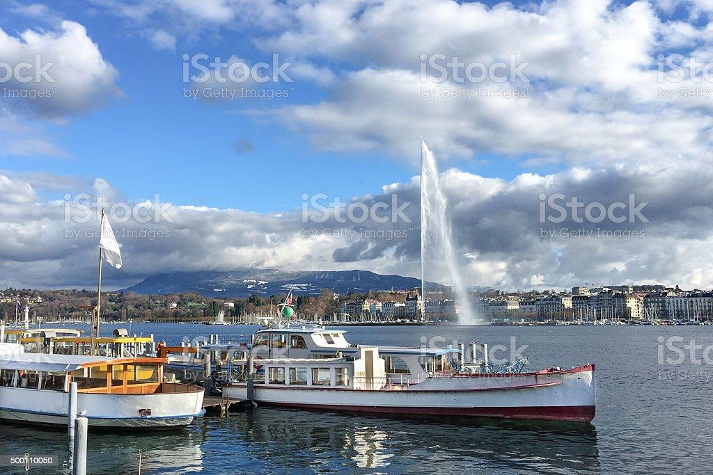 Lake Geneva in Switzerland stock photo