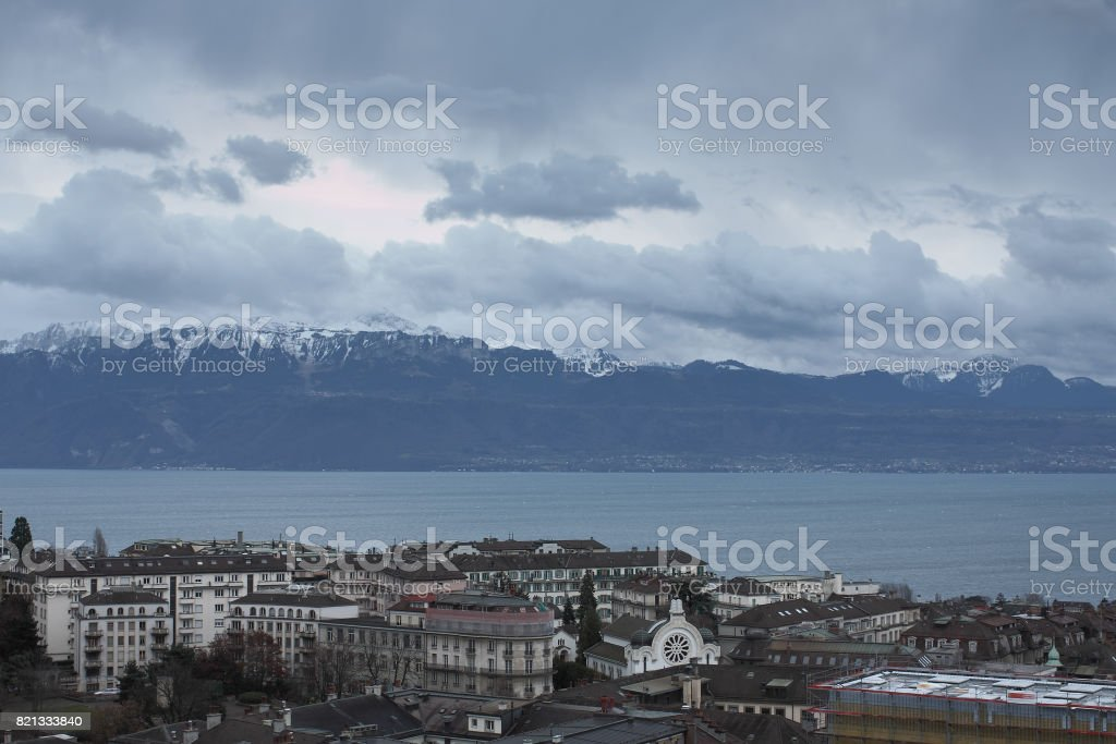 Lake Geneva under the autumn sky stock photo