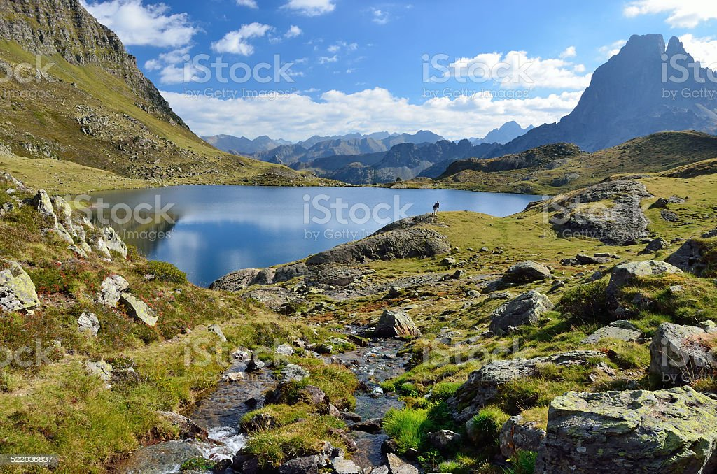 Lake Gentau in the Bearn Pyrenees stock photo