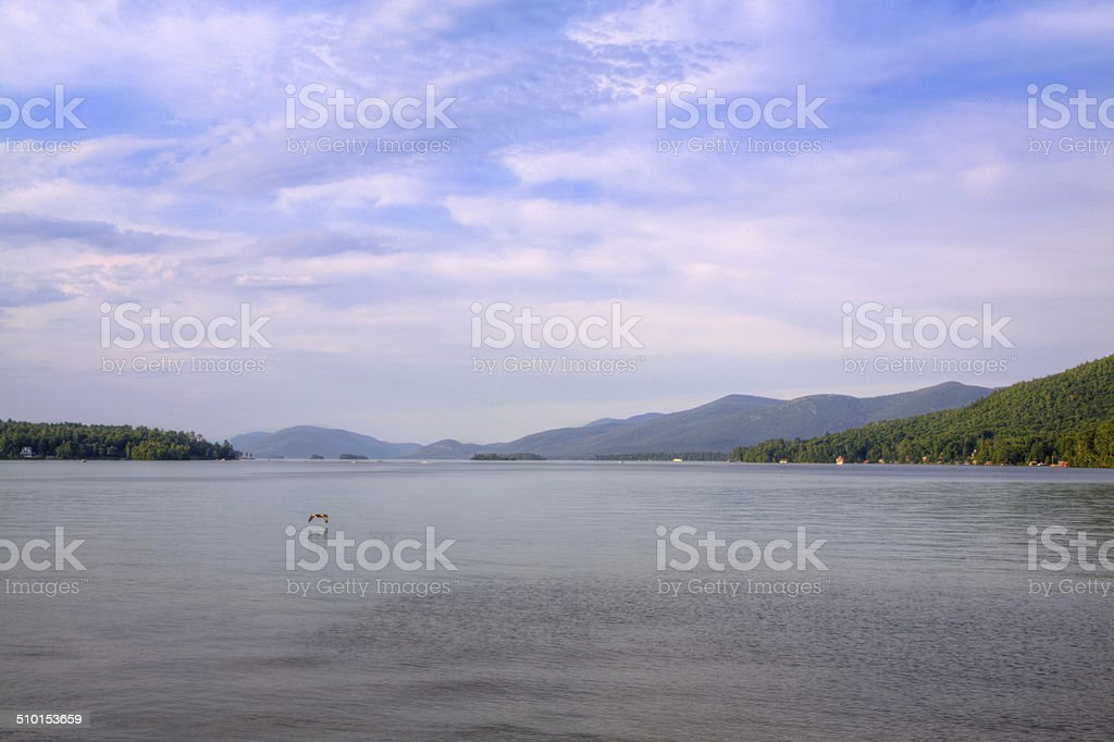 Lake George in the evening, NY. stock photo