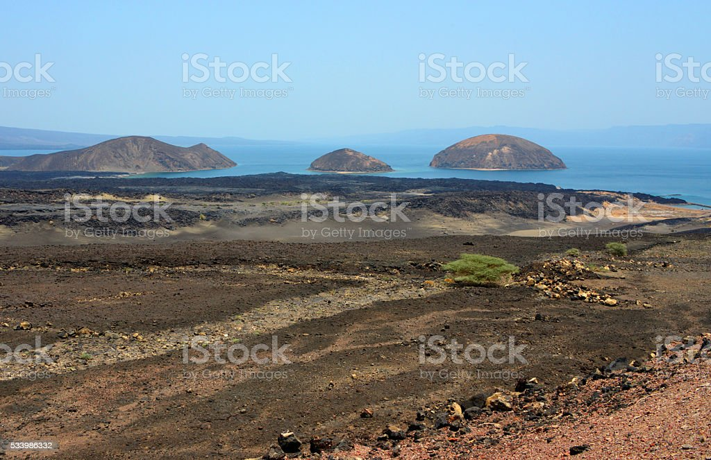Lake Ghoubbet, Djibouti: Ghoubbet-el-Kharab bay and the Devil's Islands stock photo