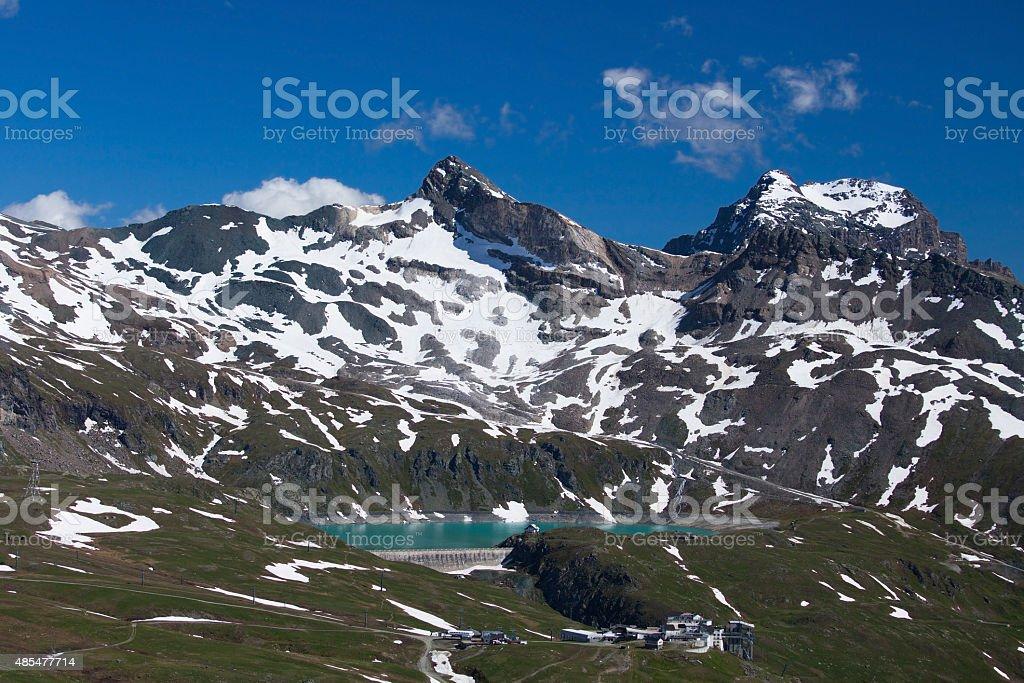 Lake Goillet dam in Breuil-Cervinia skiing resort, Italy stock photo