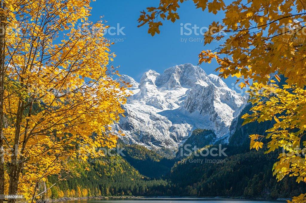 Lake Gosau with Glacier Dachstein, Fall Colors, Nature Reserve Austria stock photo
