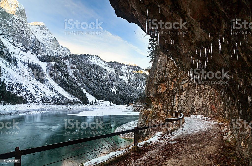 Lake Gosausee in winter, Salzkammergut, Austria stock photo