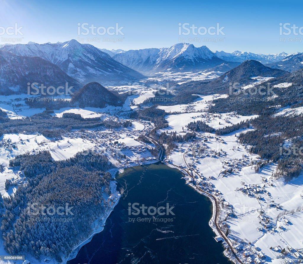 Lake Grundlsee, Arial Winter Panorama, Austria stock photo