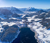 Lake Grundlsee, Arial Winter Panorama, Austria
