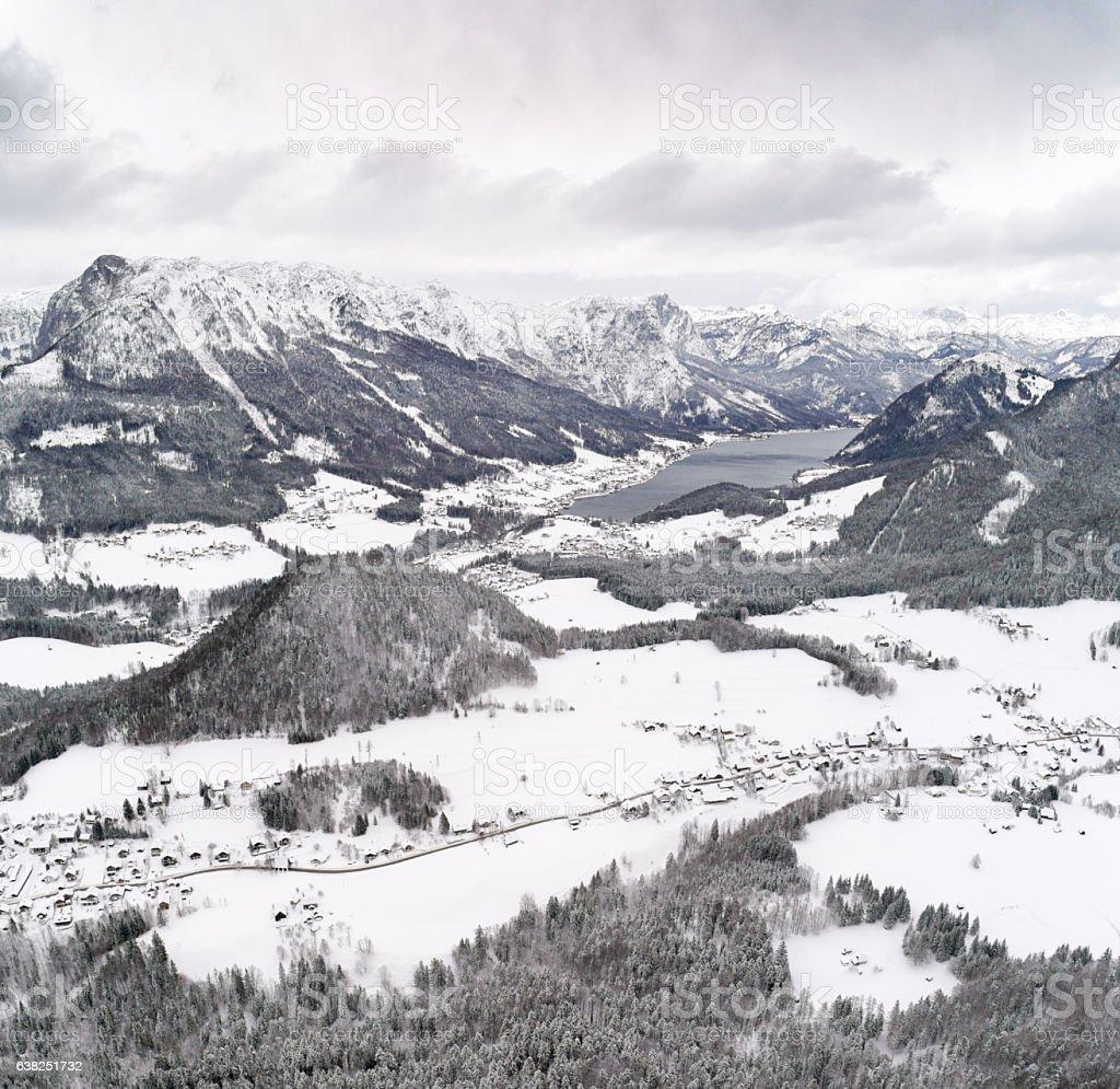 Lake Grundlsee, Ausseerland, Arial Winter Panorama, Austrian Alps stock photo