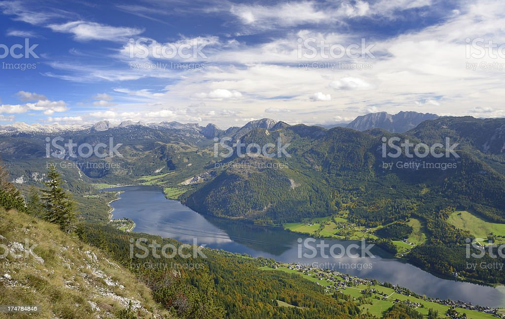 Lake Grundlsee, Austrian Alps Panorama stock photo