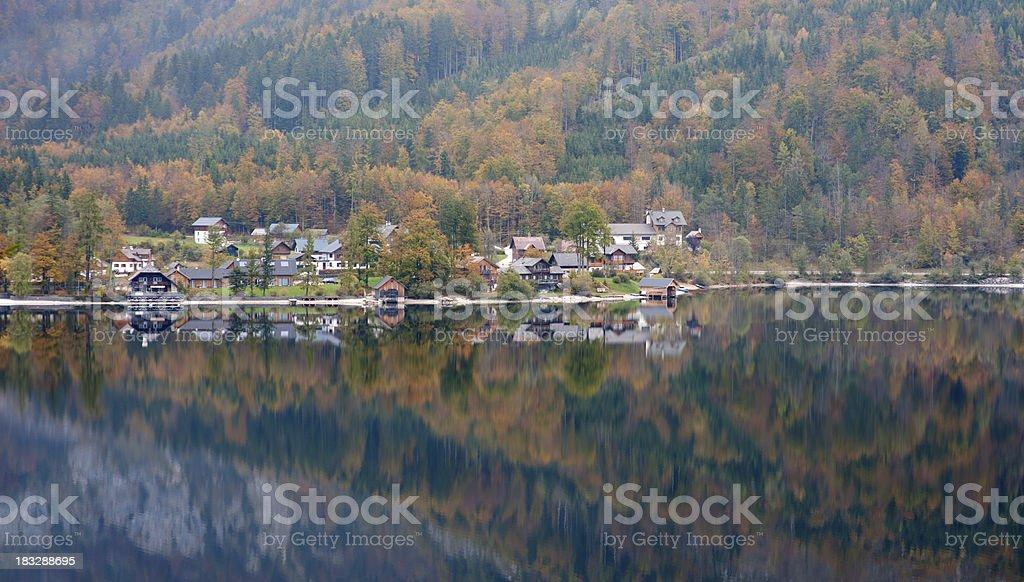 Lake Grundlsee, Autumn Mountain Panorama - Austrian Alps (XXL) stock photo