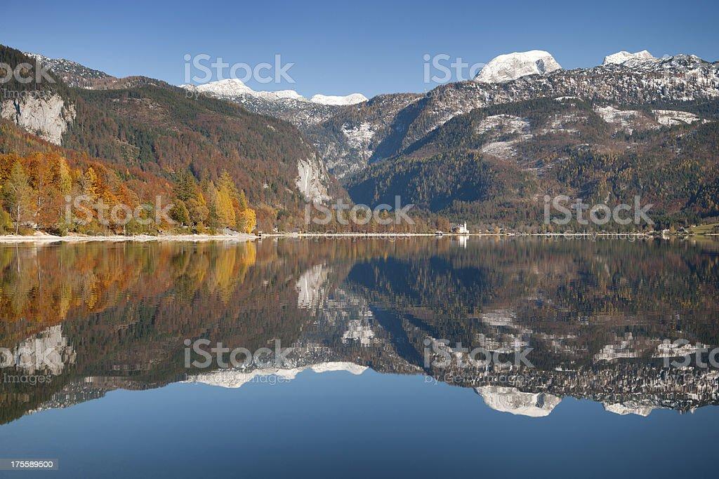 Lake Grundlsee, Autumn Reflections, Austria (XXXL) stock photo
