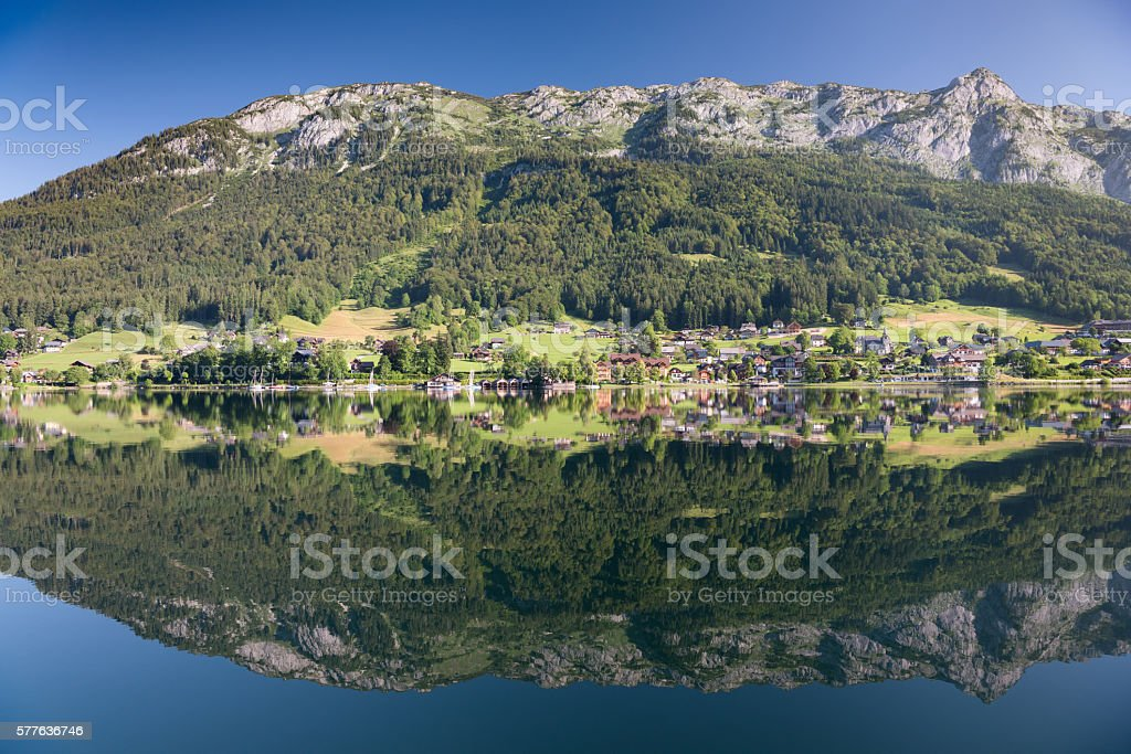 Lake Grundlsee, Early Morning Reflections - Austrian Alps stock photo