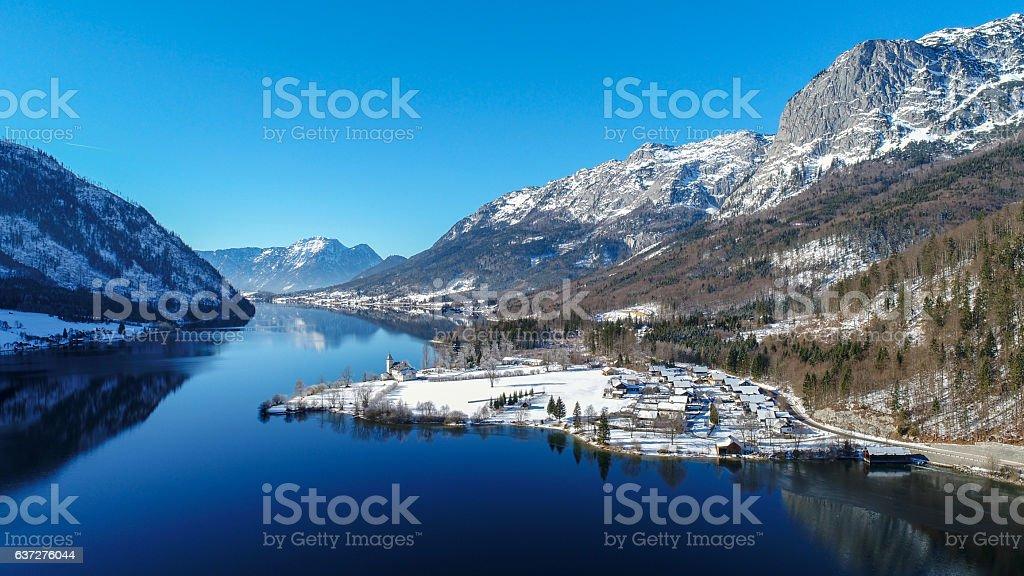 Lake Grundlsee, Winter Panorama, Austria stock photo