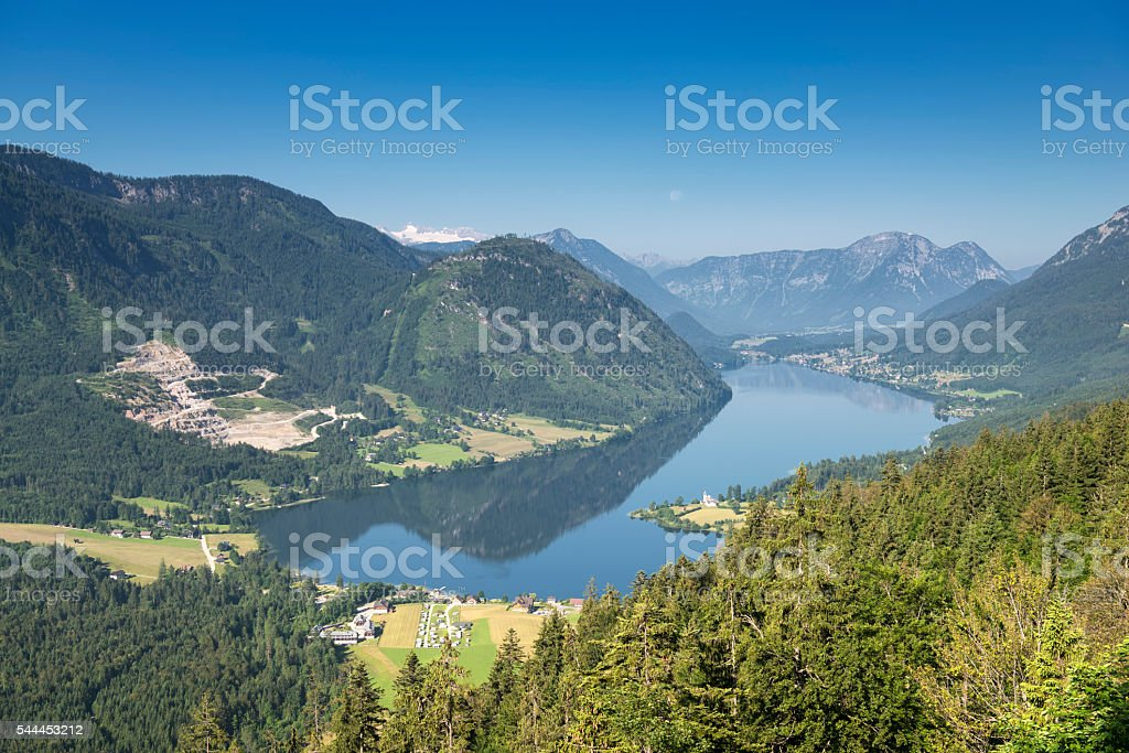 Lake Grundlsee with Glacier Dachstein, Austrian Alps Panorama stock photo
