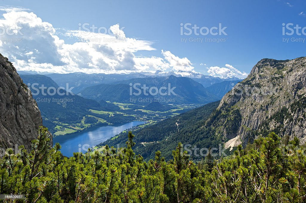 Lake Grundlsee  with Mt. Dachstein and Glaciers in summer stock photo