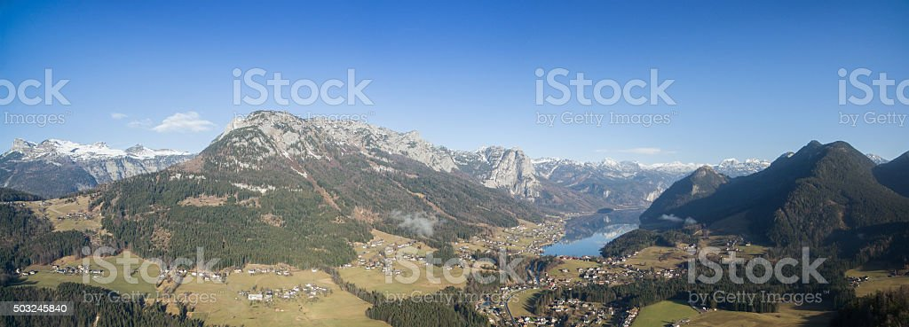 Lake Grundlsee with the Mountains Loser, Trisselwand, Totes Gebirge, Austria stock photo