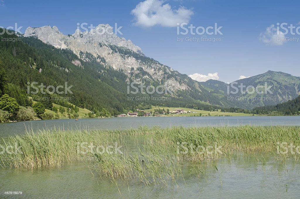 Lake Haldensee with mountain royalty-free stock photo