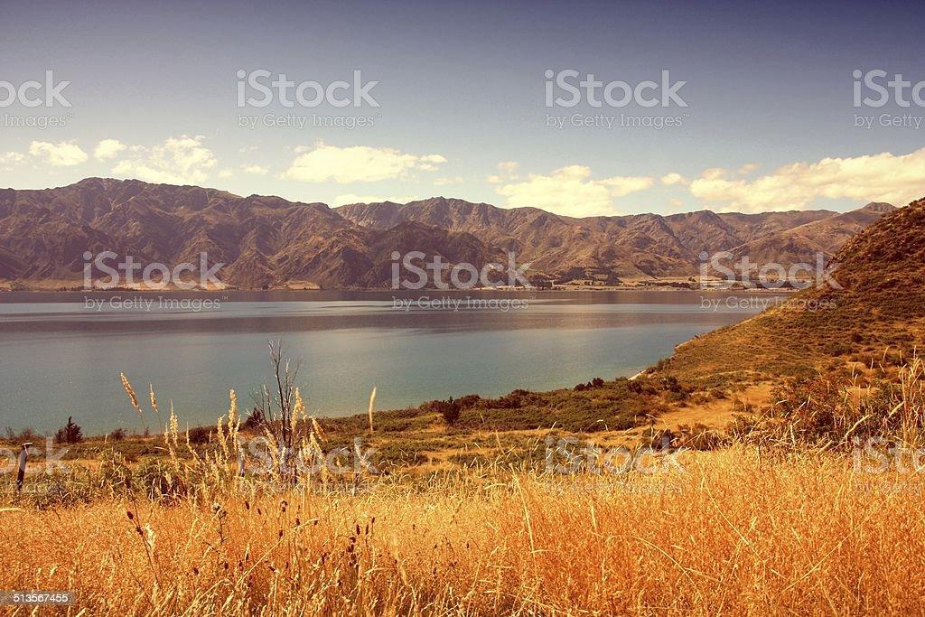 Lake Hawea, New Zealand stock photo