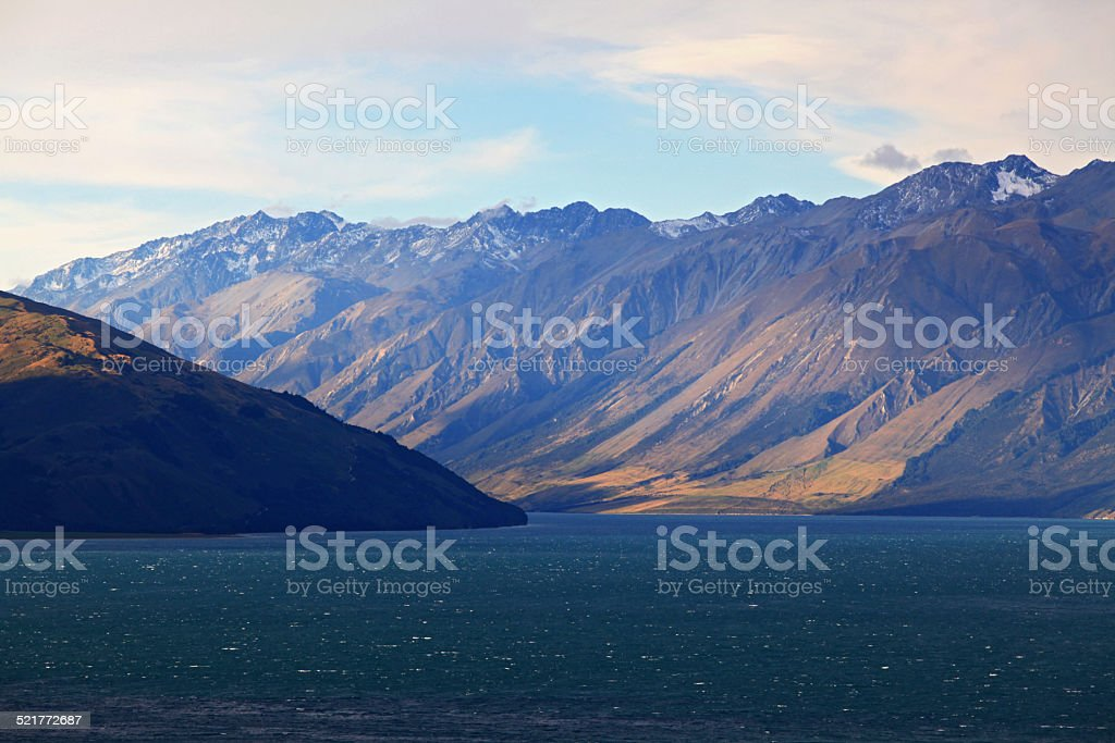 Lake Hawea New Zealand stock photo