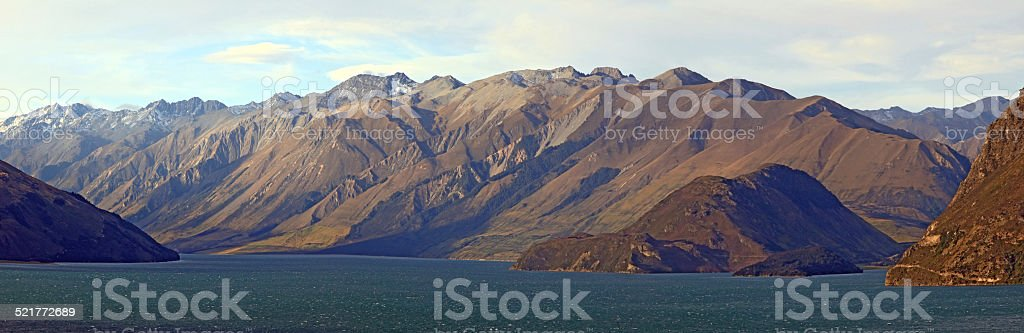 Lake Hawea Panorama Wanaka New Zealand stock photo