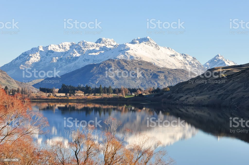 Lake Hayes at New Zealand stock photo