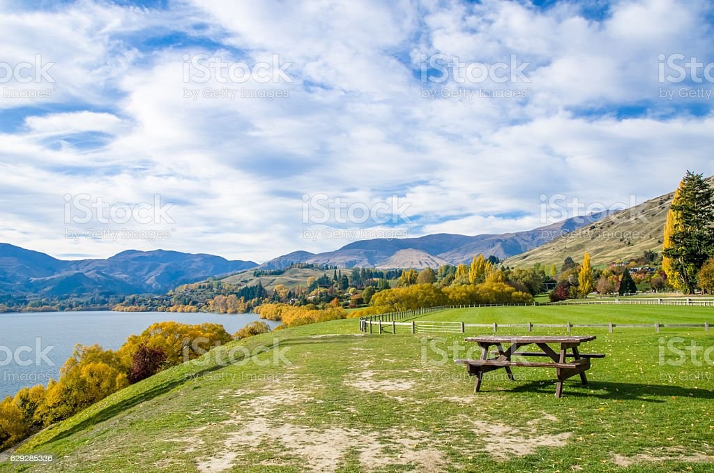 Lake Hayes located in the Wakatipu Basin in Central Otago. stock photo