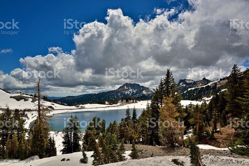 Lake Helen and Brokeoff Mountain, Lassen Natl. Park stock photo