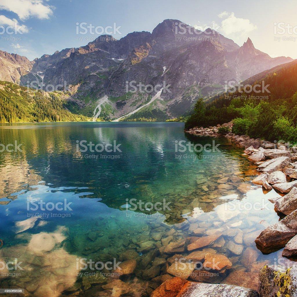 Lake high in the Tatras Sea Eye. Poland stock photo