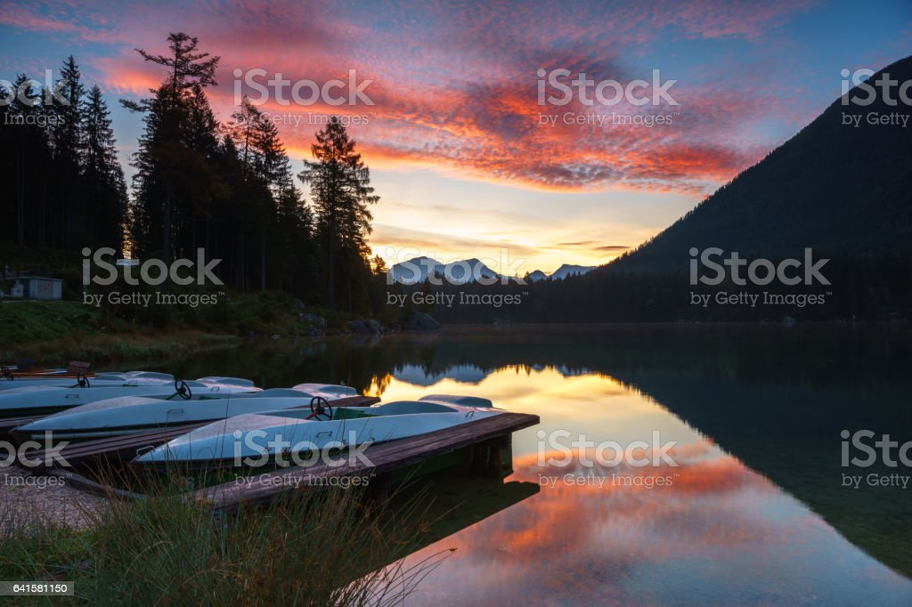 Lake 'Hintersee' in Berchtesgaden, germany, in the morning stock photo