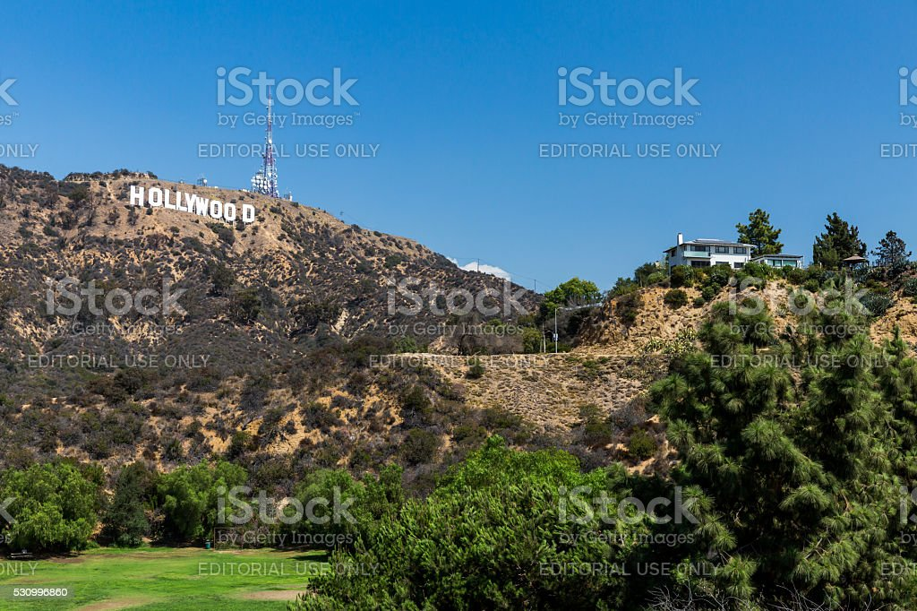 Lake Hollywood Park and the Hollywood sign stock photo