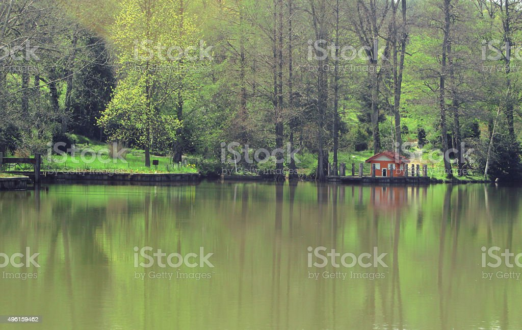 lake home stock photo