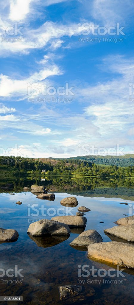 Lake house forest sky royalty-free stock photo