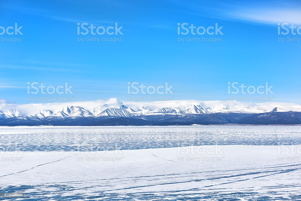 Lake Hovsgol in March stock photo