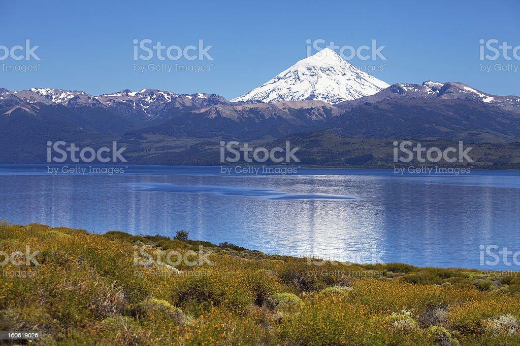 Lake Huechulafquen and volcano Lanin, Patagonia, Argentina royalty-free stock photo
