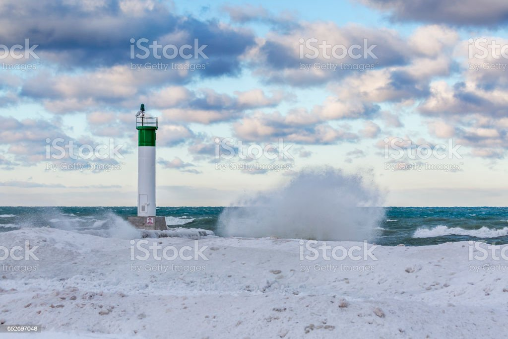 Lake Huron Lighthouse in winter - Grand Bend, Ontario stock photo