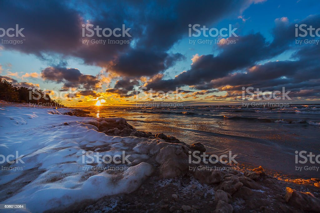 Lake Huron shoreline at sunset in early winter - Canada stock photo