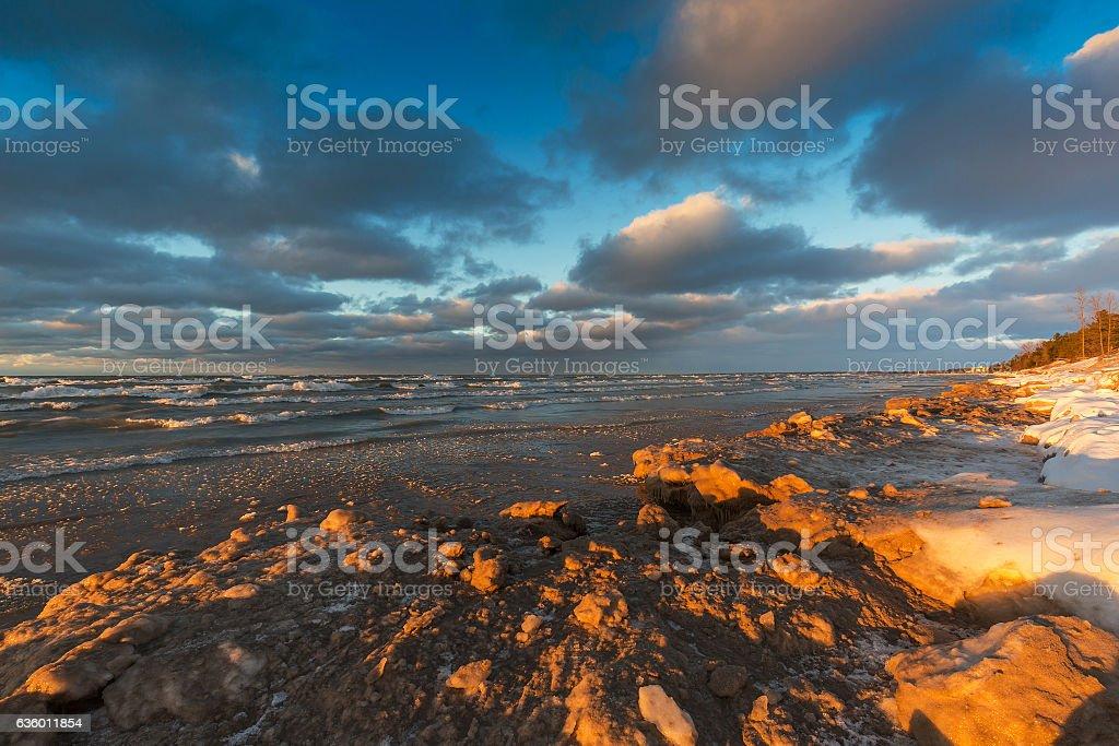 Lake Huron shoreline in December - Ontario, Canada stock photo