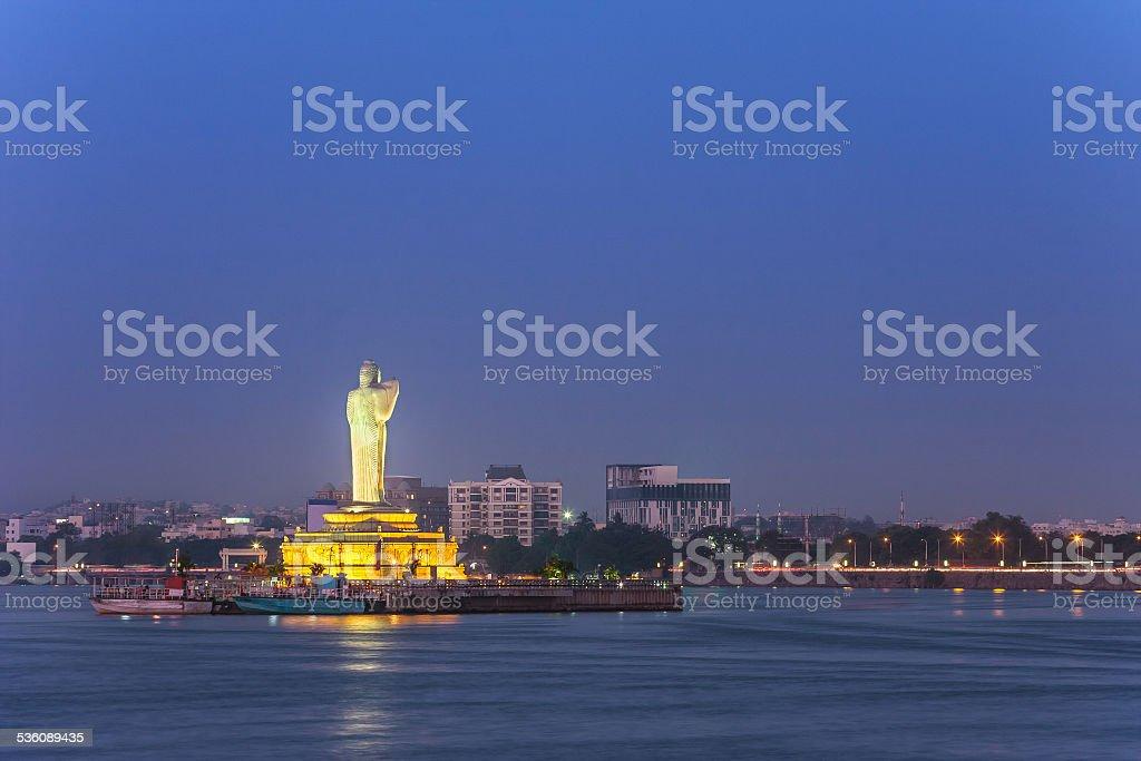 lake Hussain Sagar, Hyderabad, India stock photo