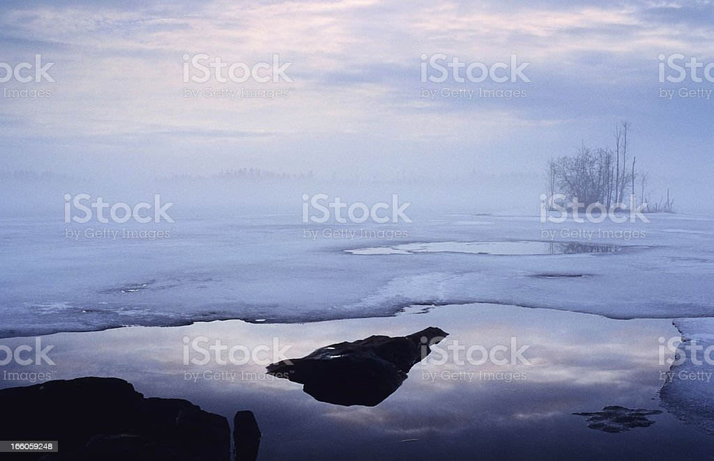 Lake ice melting royalty-free stock photo