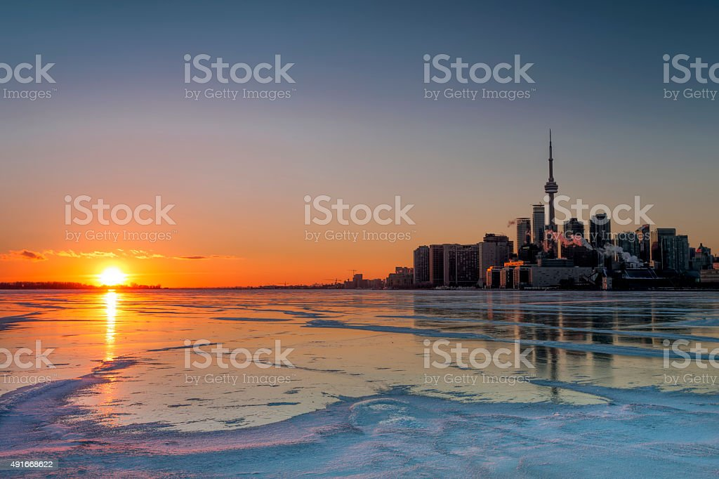 Lake Ice Sunset stock photo