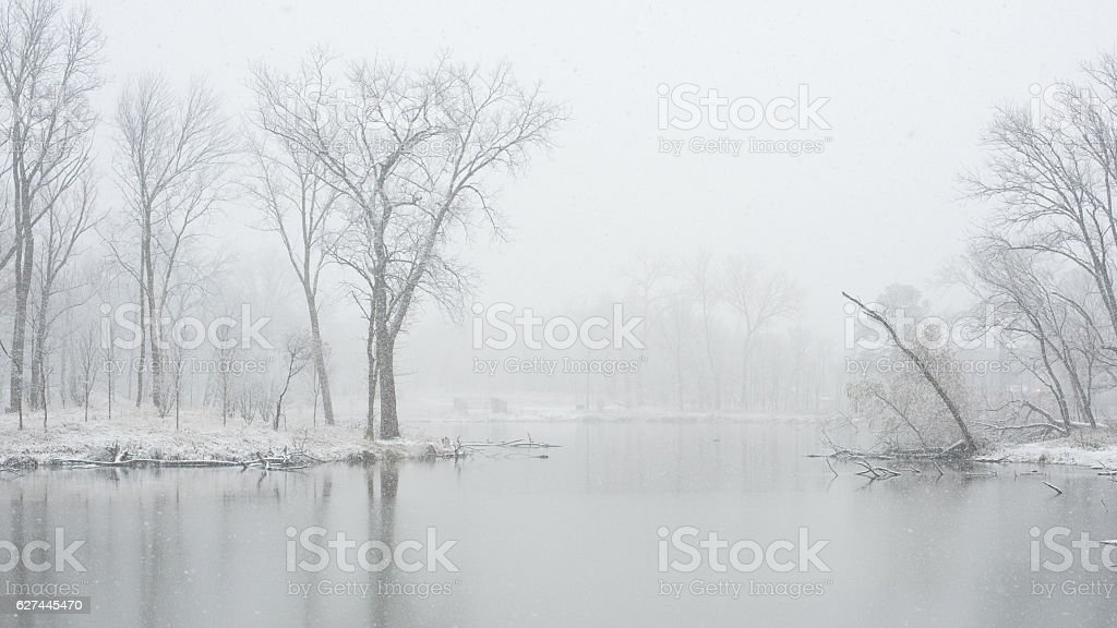 Lake in a chicago park at winter stock photo