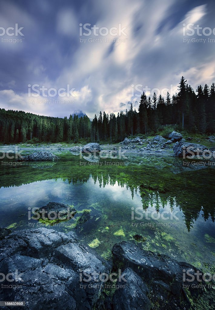 Lake in a forest stock photo