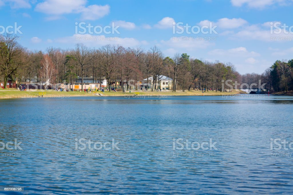 Lake in a Lagiewniki forest in the city of Lodz stock photo