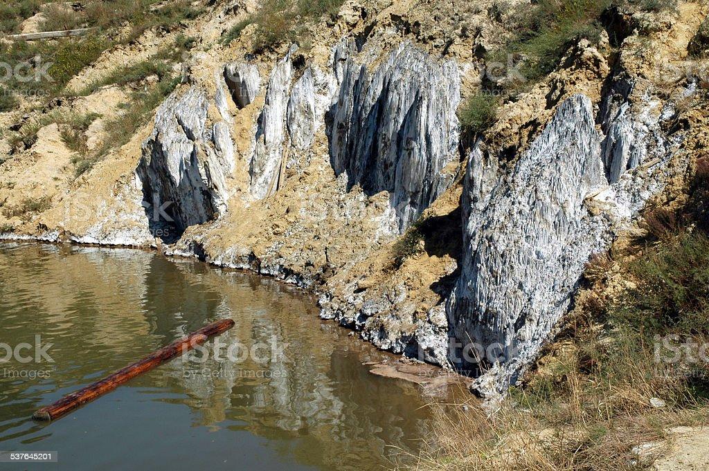 Lake in an abandoned salt mine stock photo