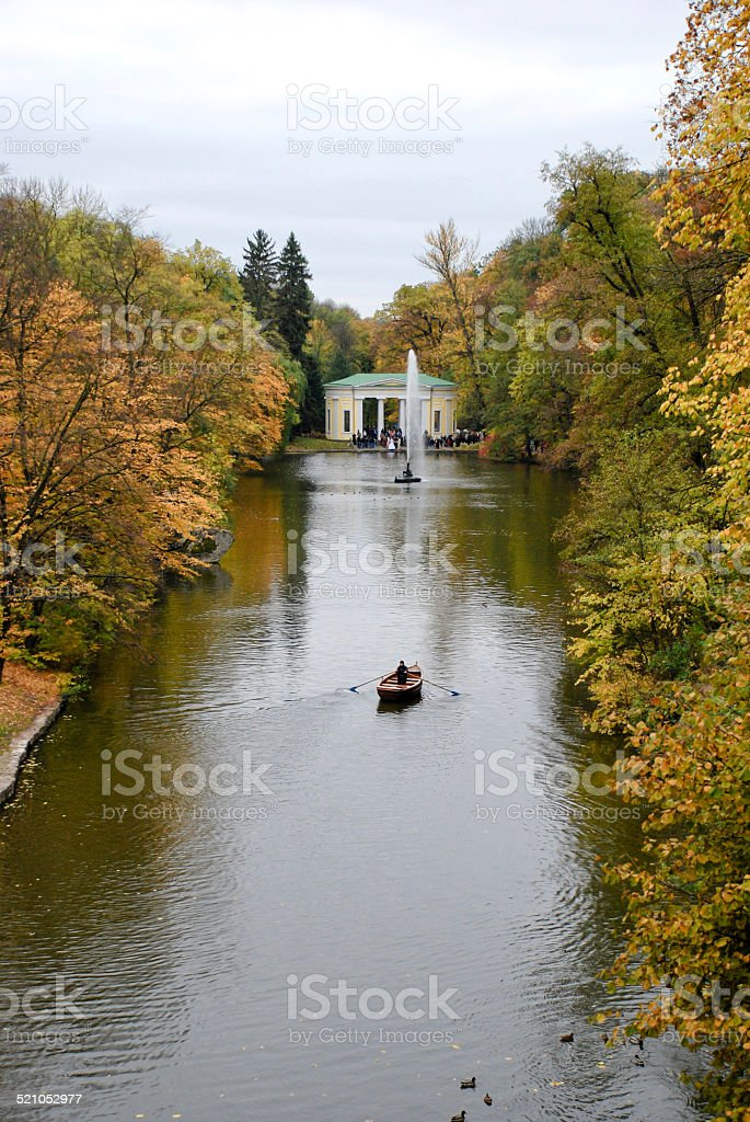 Lake in autumnal park stock photo